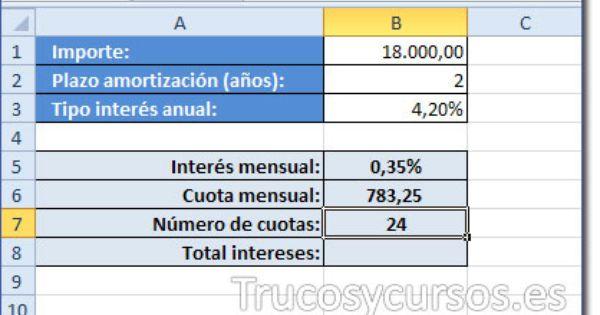 Calcular Un Prestamo En Excel El Interes Estados Financieros Amortizacion