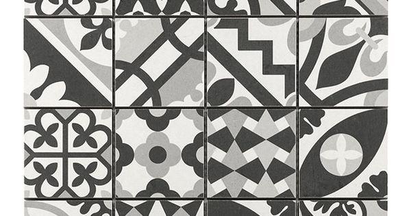 Cr dence mosa que carreaux de ciment blanc noir 7 x 7 cm - Credence cuisine noir et blanc ...