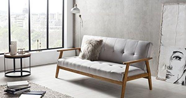 Salesfever Design Schlafsofa Sofa Bett Im Skandinavischen Stil Modernes 3 Sitzer Klappsofa Stoff Hellgrau Fsc 100 Holzgestell Eiche