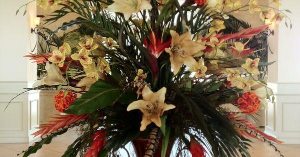 Silk floral in hotel lobby arrangements