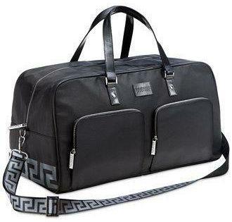 VERSACE Parfums black duffle bag overnight weekender travel shoulder handbag NEW