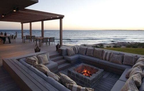 outdoor fire pit by the beach