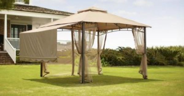 Hampton Bay 10 Ft X 10 Ft Brown Roof Style Garden House With Awning And Back Wall 5sgz14051010nn The Home Depot Gazebo Pergola House Awnings