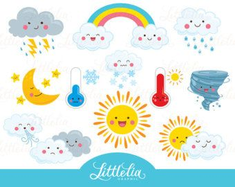 Kawaii Weather Clipart Happy Weather Cute Weather Etsy Kawaii Clipart Clip Art Rainbow Clipart