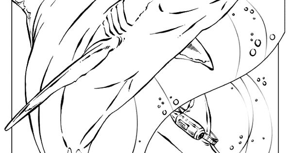 free Basking Shark printable coloring