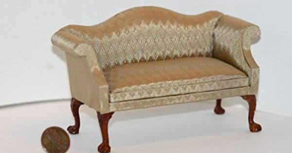 Dollhouse Miniature Upholstered Footstool in Champagne Beige Damask