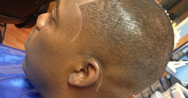 Bald Fade With Chalk Line Straight Razor Shape Up Hair