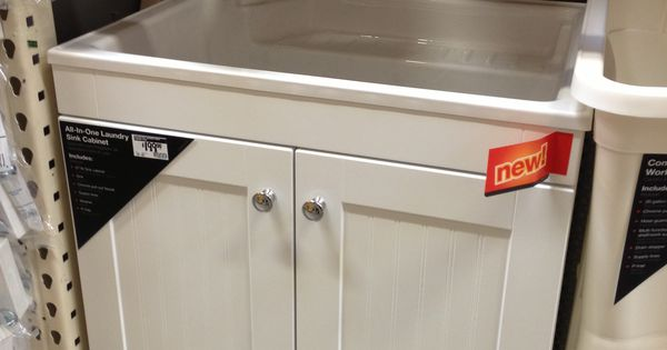 All In One Laundry Sink Cabinet : Add all in one laundry sink cabinet next to stacked front loaders. 199 ...