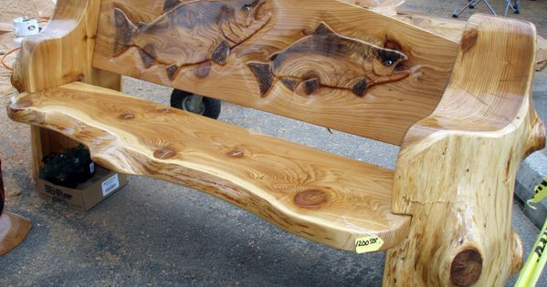 Chainsaw carved wood benches free carving bench