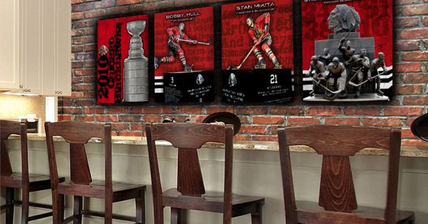 Man Cave Store Chicago : Blackhawks canvas set of mighty man cave art