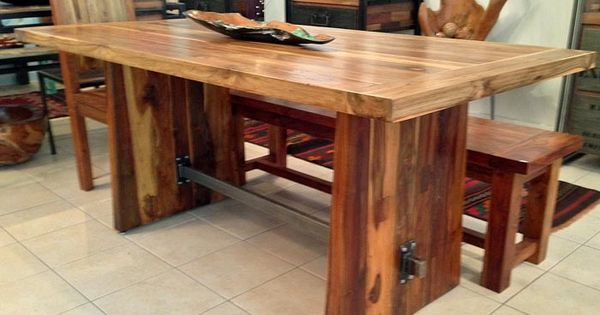 Reclaimed teak dining table with custom steel trestle 3 for 5 foot dining room table