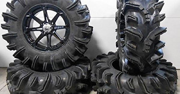 9 Items MSA Black Diesel 14 ATV Wheels 27 Cryptid Tires 4x156 Bolt Pattern 10mmx1.25 Lug Kit Bundle