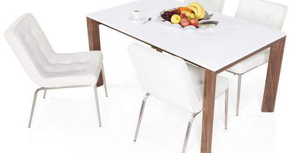 Table Scandik Tablette Blanche Et Structure En Bois Plaque Noyer Pour Un Style Classiqu Table A Manger Extensible Chaise Salle A Manger Meuble Salle A Manger