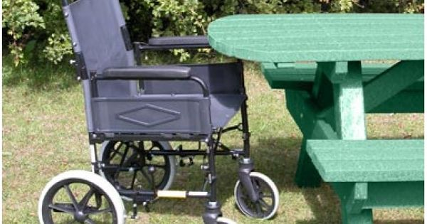 Our esxtende top picnic table in green which allows for Wheelchair accessible picnic table plans