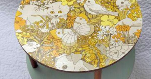 Turn coffee table into kids table with paint decoupage for Cadlow mural world