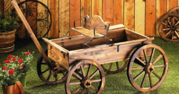 Rustic wagon old time buckboard rolling wheels fir wood for Things to do with old wagon wheels