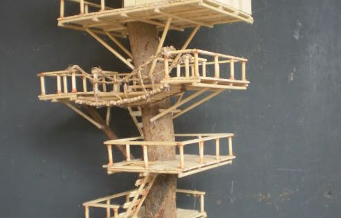 Popsicle stick crafts house here s another tree house for How to build a treehouse with sticks