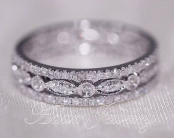 Discount 3 Full Eternity Bands 1 1mm 14k White Gold Diamonds