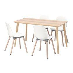 Ikea Eettafel 4 Stoelen.Lisabo Leifarne Tafel En 4 Stoelen Essenfineer Wit 140x78 Cm
