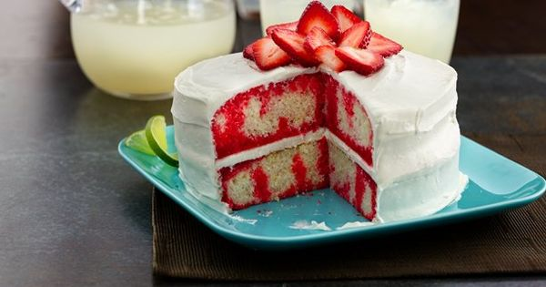 Strawberry Lime Daiquiri Poke Cake - This impressive cake is an adult