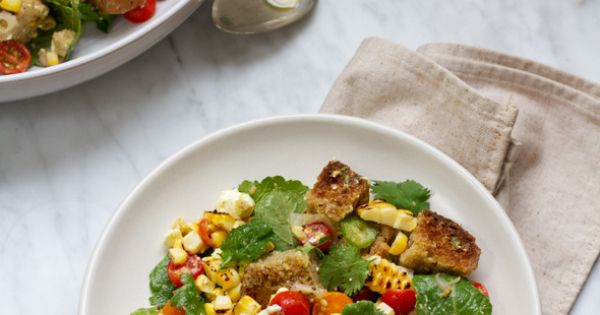 Because every season we like to make a version of Italian panzanella salad, we came up with this recipe for late summer Mexican Corn Panzanella Salad.