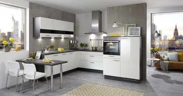 Culineo Einbauküche in U-Form Lackoberflächen Weiß Hochglanz - u form küchen