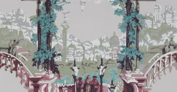 Carter co historic wallpapers 1830 painted wall for Colonial mural wallpaper