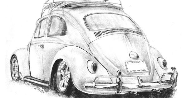 drawing-pencil-vw-beetle-cal-look | Drawing Inspiration | Pinterest | Vw beetles, Beetles and ...
