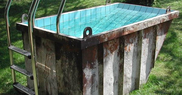 storage container upcycled into a pool! ok now this one is a