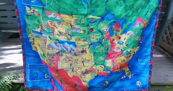 Whimsical Map Of United States Quilted Throw By