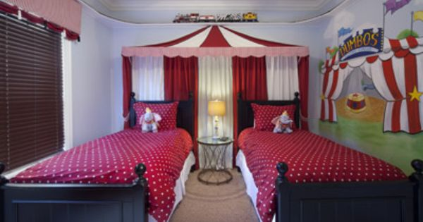 Kids can sleep under the big top in this storybook circus for Circus themed bedroom ideas