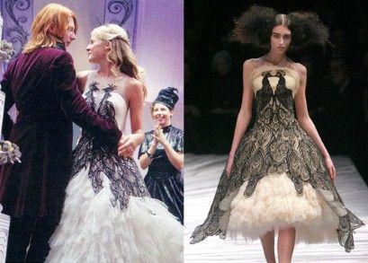 Left Fleur Delacour Marries Bill Weasley In A Phoenix Dress Right Alexander Mcqueen S Iconic P Alexander Mcqueen Designs Alexander Mcqueen Dresses Fashion
