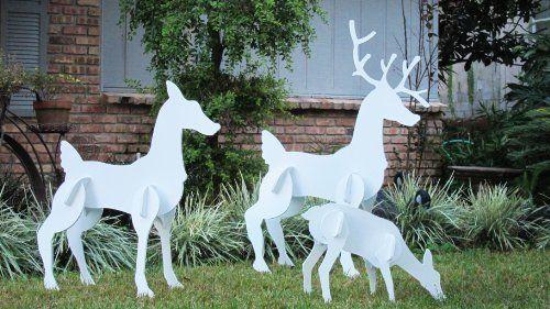 Teak Isle Christmas Outdoor Reindeer Family Christmas Deer Set Outdoor Reindeer Outdoor Christmas Christmas Deer Decorations