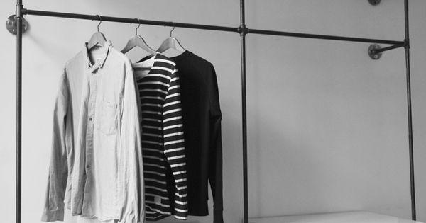 offener kleiderschrank open wardrobe offene garderobe open closet various steel pipe. Black Bedroom Furniture Sets. Home Design Ideas