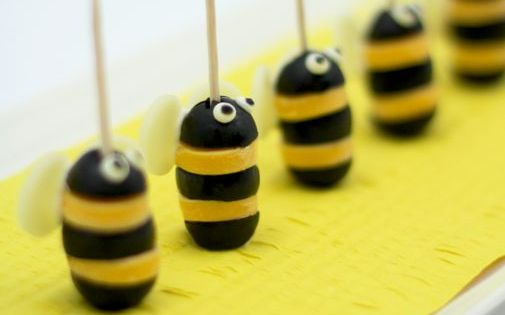 Olive and cheese bumble bees