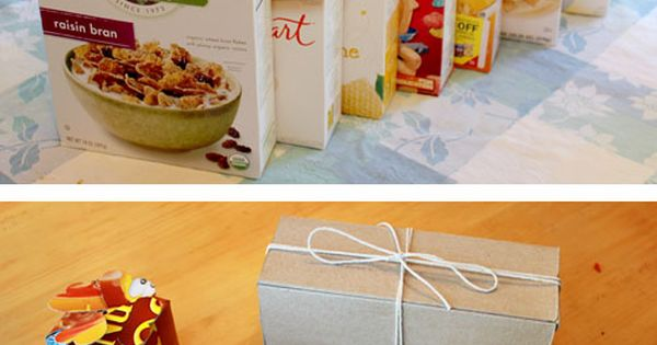 Cereal box upcycle - Pencil box, two gift boxes, and mini notebook