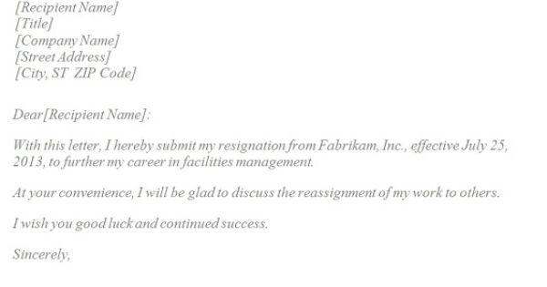 Basic Resignation Letter template resignation letter quitting – Write Simple Resign Letter