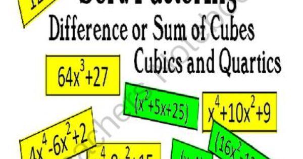 sort factoring difference sum of cubes cubics quartics from carynlovesmath on teachersnotebook. Black Bedroom Furniture Sets. Home Design Ideas