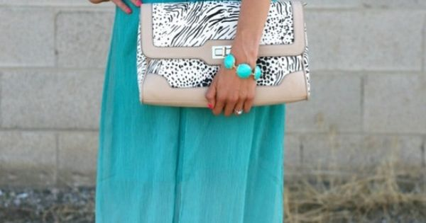 Love the colors!!! qb see more Amazing Blue Maxi Skirt with White