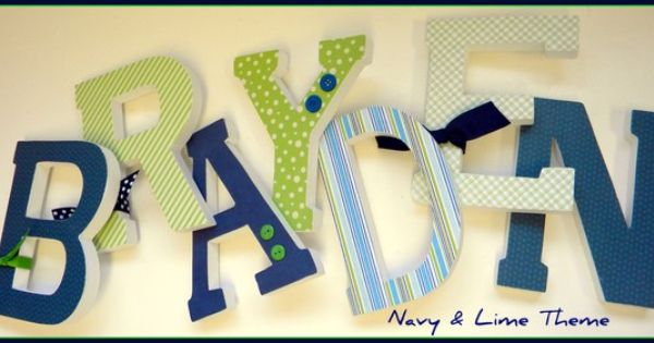 Navy Blue And Green Wall Decor : Wooden wall letters baby boy nursery decor navy blue and