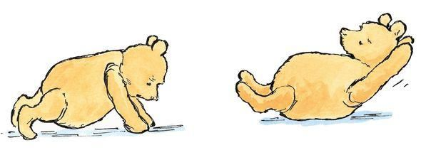 WINNIE-THE-POOH POSTCARD ~ POOH BEAR EXERCISES IN THE MIRROR ~ NEW