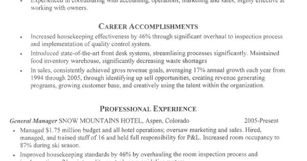 Resume For Folks In The Hospitality Industry. #hospitality #resume #resumewriters