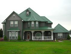 56 Best Houses With Green Siding Images On Pinterest Exterior House Paint Colors With Green Roof Green Roof House House Paint Exterior Metal Roof Houses