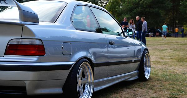 Silver BMW e36 coupe on cult classic OZ AC Schnitzer type ...