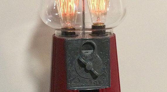 8 Prodigious Unique Ideas Lamp Shades Repurpose Lamp: Antique Gumball Machine With Vintage Edison By