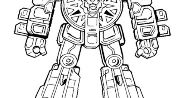 robot power rangers ready to fight coloring page for kids