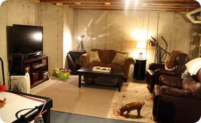 Underground Family Room Unfinished Basement Decorating Rustic Basement Basement Decor