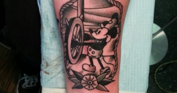 Traditional Steamboat Willie Mickey Tattoo by Steve Rieck ...