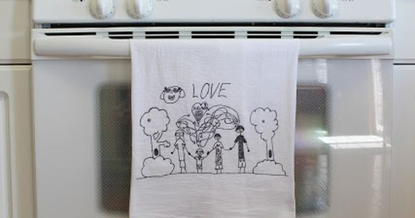 Turn children's art into tea towels. Christmas gifts. Grandparent gifts.