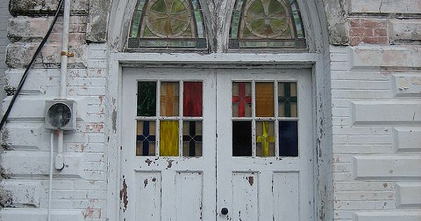 Old Church door, gothic arch, Key West, Florida